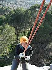 Abseiling off a route in Spain
